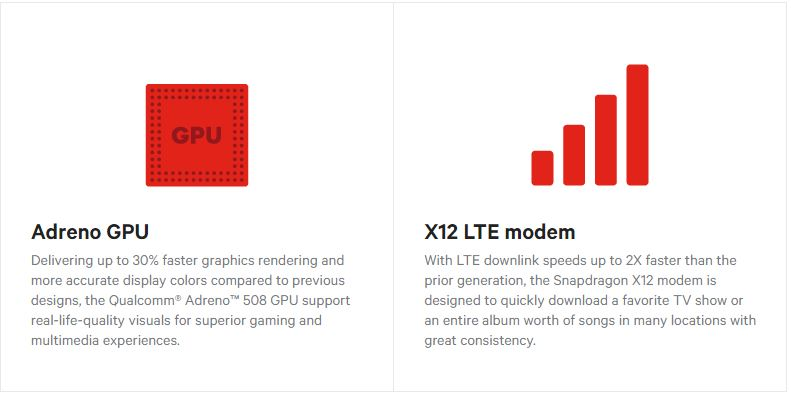 Snapdragon 630 Adreno 508 GPU and X12 LTE Modem