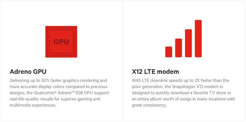 Snapdragon 630 Adreno 508 GPU and X12 LTE Modem