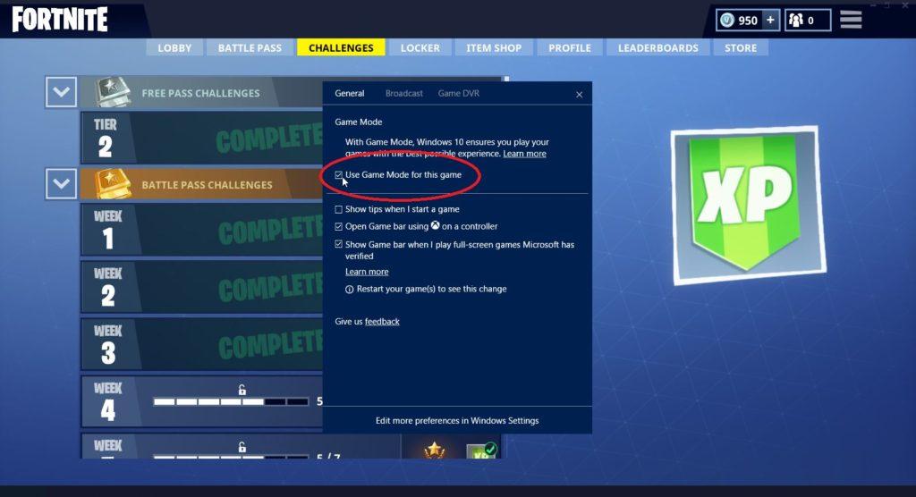 Windows Game Mode in Fortnite