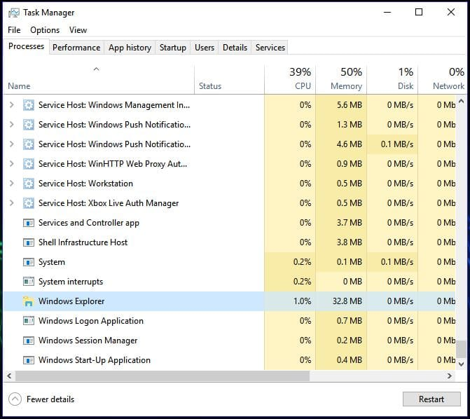 Closing Windows Explorer in Task Manager
