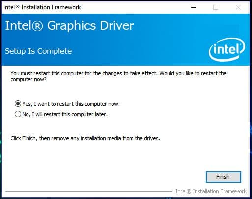 Intel Graphics Installation Finish