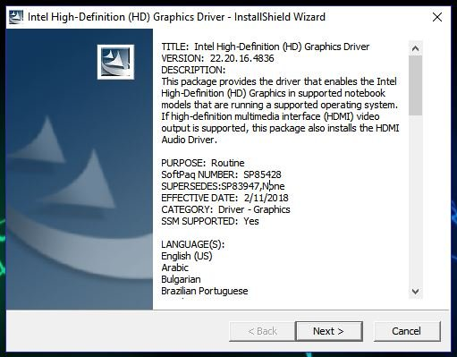 Intel HD Graphics Installation