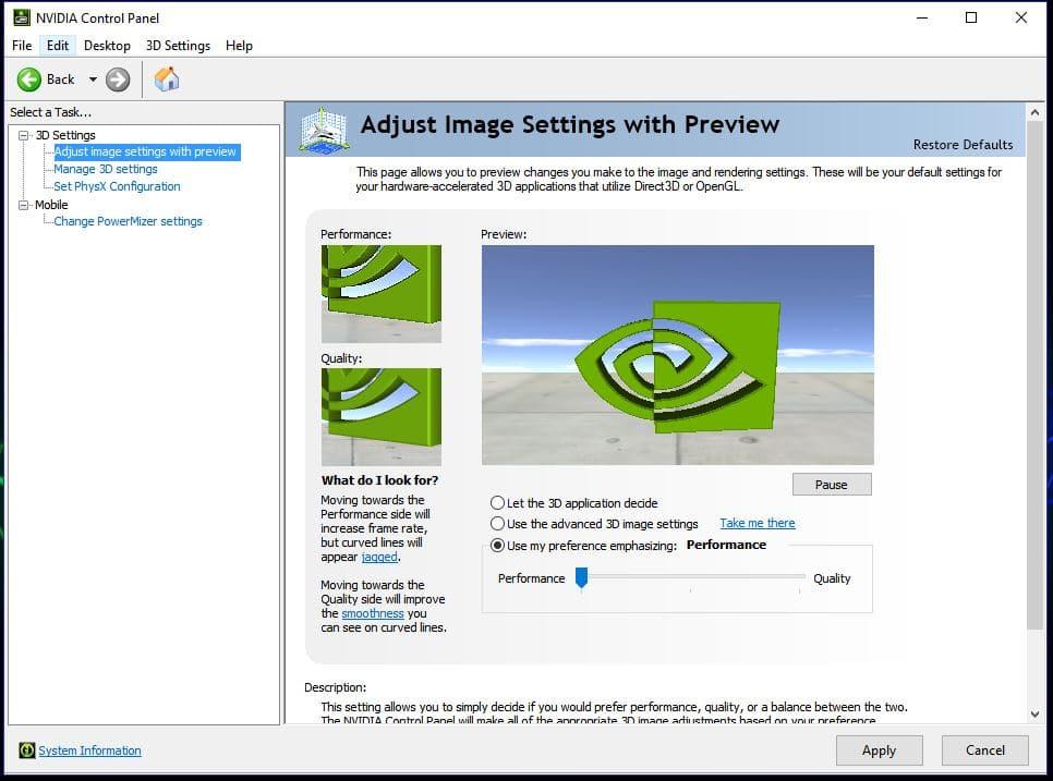 Nvidia Control Panel Image Settings