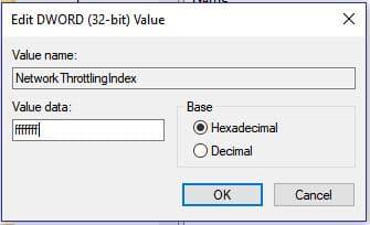 Windows Network Throttling Index