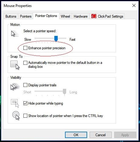 Disable Mouse Acceleration in Windows 10