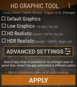 HD Graphic Tool for PUBG Mobile