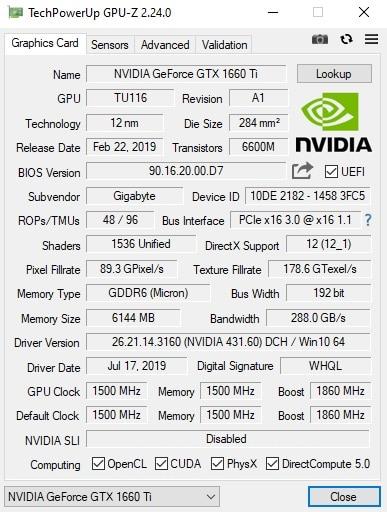 Gigabyte GTX 1660 Ti GPU-Z