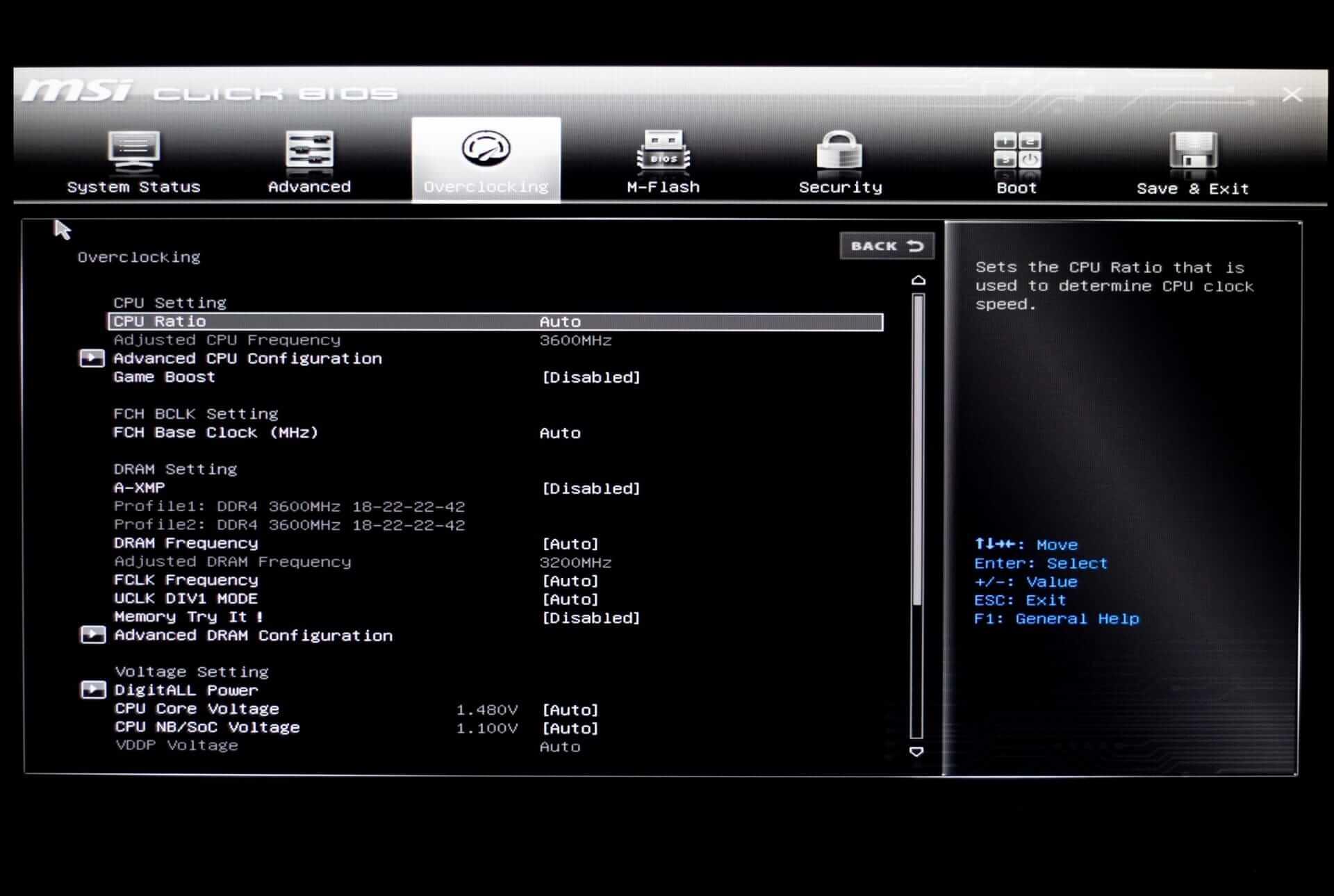 Overclocking Menu in MSI GSE Lite BIOS