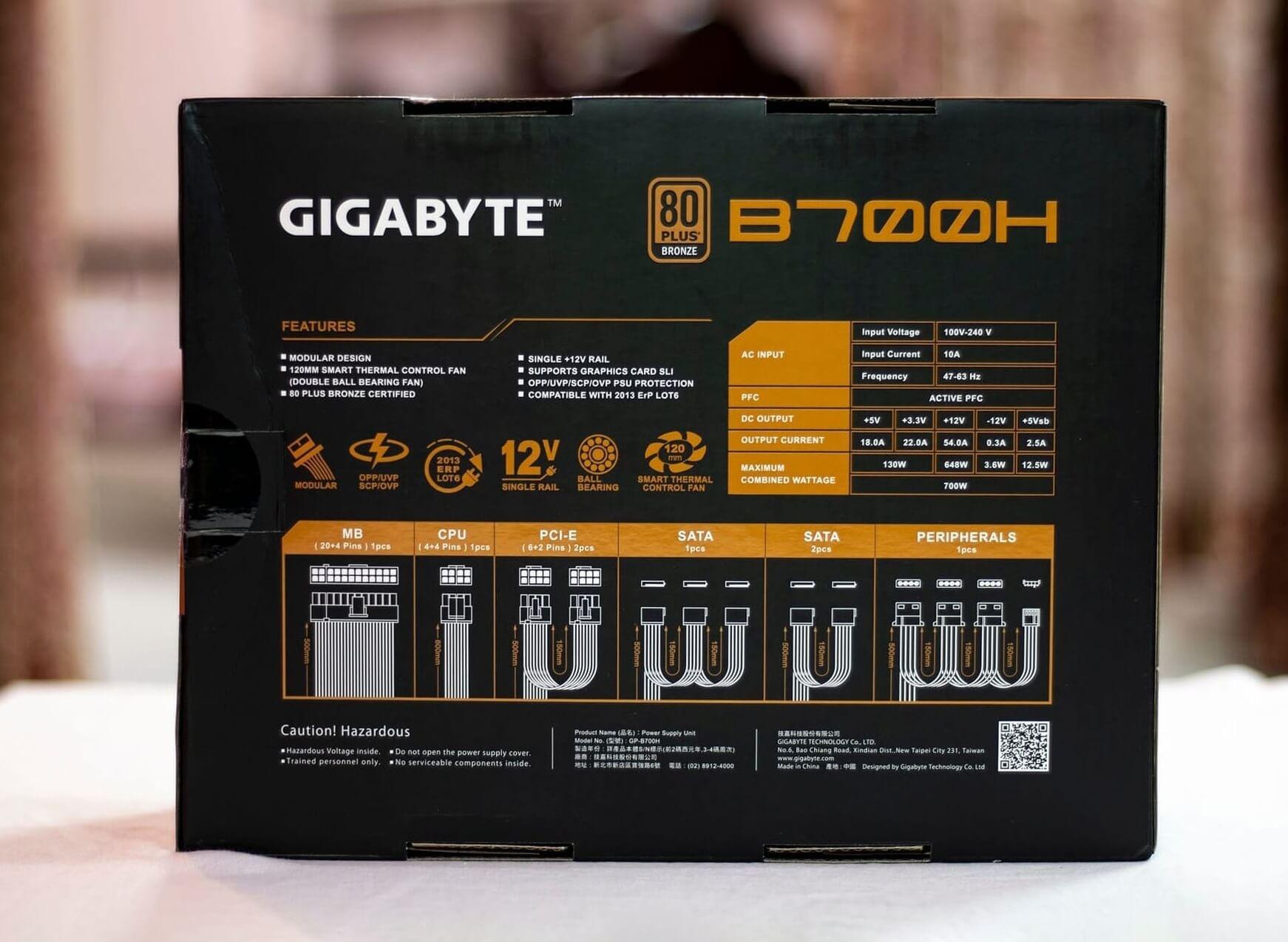 Gigabyte B700H Back