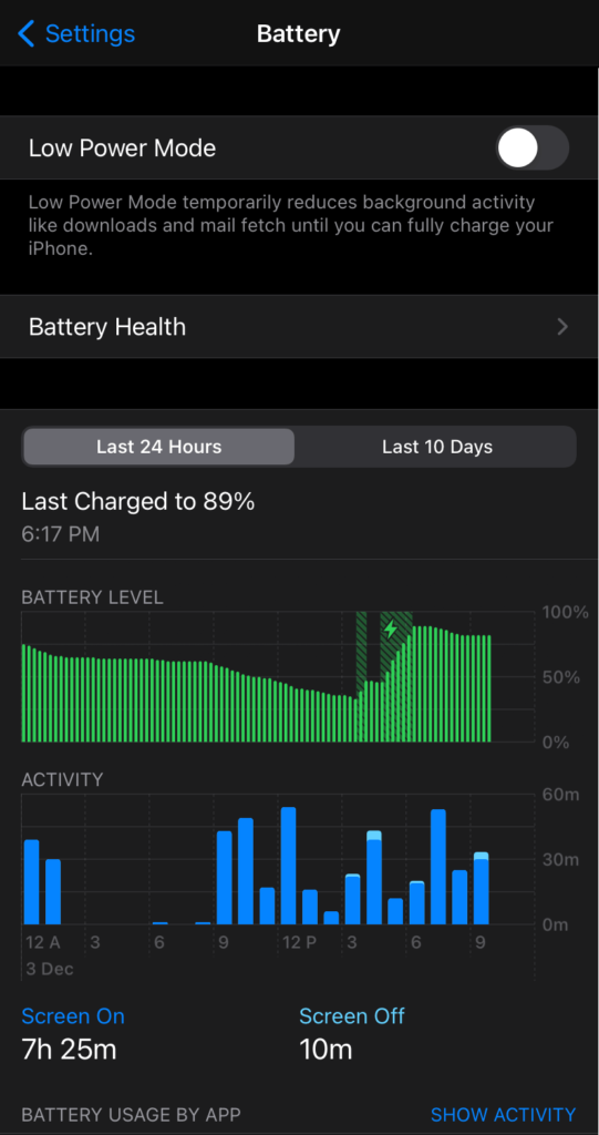 iPhone Battery Stats Screen
